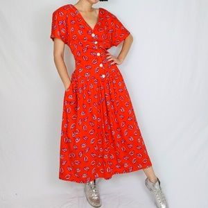 80's printed midi dress